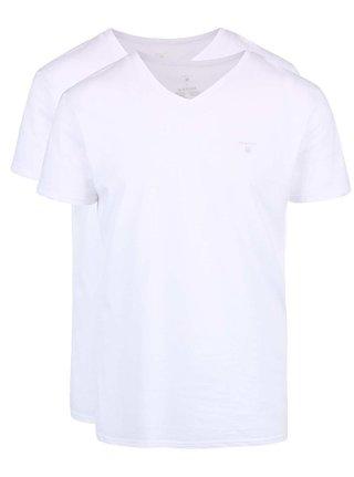 Súprava dvoch bielych tričiek s véčkovým výstrihom GANT