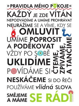 Bílý plakát  HEZKÝ SVĚT Pravidla pokoje