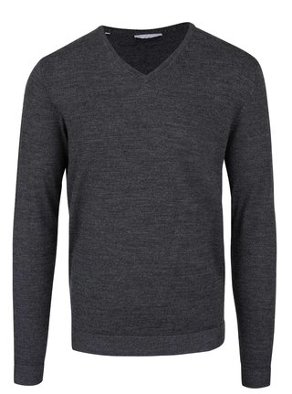 Pulover gri melanj din lana Merino - Selected Homme Tower