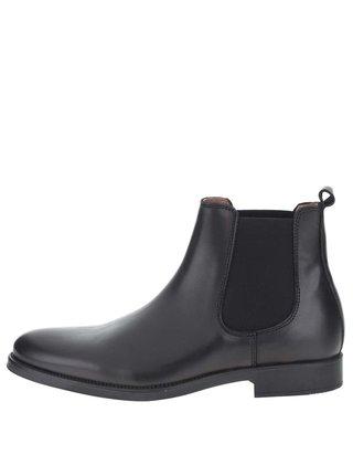 Čierne pánske kožené chelsea topánky Selected Homme Oliver