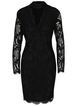 Čierne čipkované šaty s 3/4 rukávom AX Paris