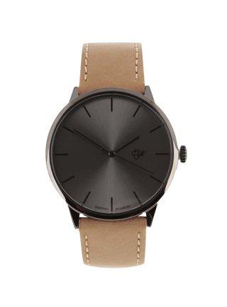 Unisex hodinky se světle hnědým páskem z veganské kůže CHPO Khorshid Funk