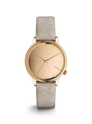 Dámské hodinky s šedým koženým páskem Komono Estelle Mirror