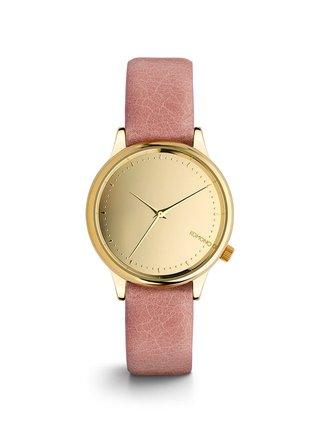 Ceas de dama auriu cu curea roz din piele naturala - Komono Estelle Mirror