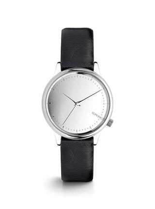 Ceas de dama argintiu cu curea negra din piele naturala - Komono Estelle Mirror