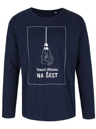 Tmavě modré pánské tričko s dlouhým rukávem Bez Jablka Ženská předehra