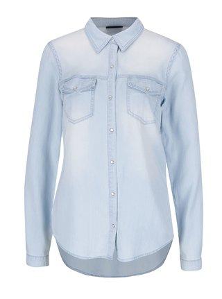 Svetlomodrá rifľová košeľa s dlhým rukávom VILA Bista