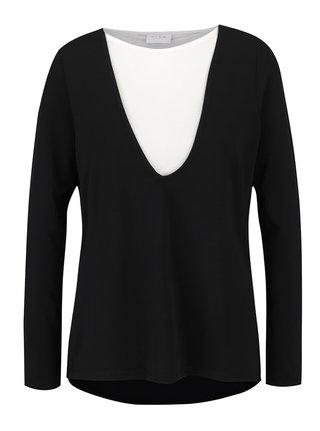 Bluza asimetrica negru cu alb VILA Bava