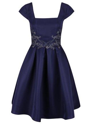 Tmavomodré šaty s nášivkou a okrúhlou sukňou Little Mistress