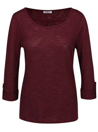 Vínové tričko s 3 4 rukávom ONLY Jess 301353202d5