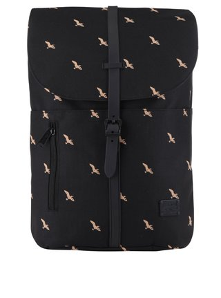 c2c22e788a0 Černý unisex batoh s motivem ptáků a se sponou na patent Spiral Tribeca 14 l