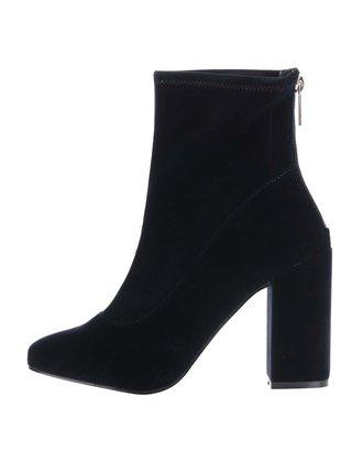 Tmavomodré zamatové topánky na podpätku Miss Selfridge Alanis