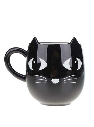 Černý keramický hrnek s kočkou Sass & Belle
