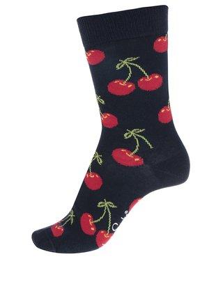 Tmavě modré unisex ponožky s motivem třešní Happy Socks Cherry