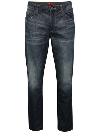 Tmavě modré pánské regular fit džíny s vyšisovaným efektem s.Oliver