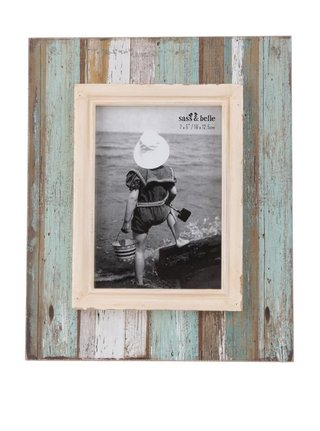 Tyrkysovo-hnedý väčší vintage fotorámik Sass & Belle