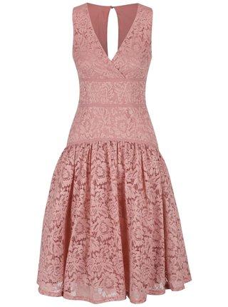 Staroružové čipkované šaty s prekladaným dekoltom Little Mistress