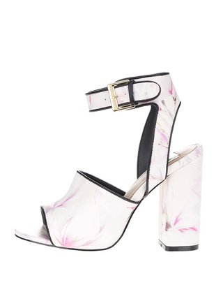 Krémové vzorované sandálky na vysokém podpatku Miss Selfridge