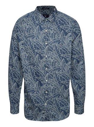 Krémovo-modrá pánska košeľa GANT Leaf