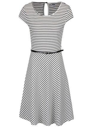 Čierno-biele pruhované šaty s opaskom VERO MODA Vigga