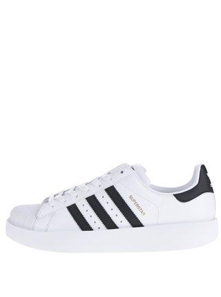 Biele dámske kožené tenisky na platforme adidas Originals Superstar