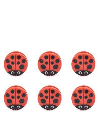 Súprava šiestich klíps na vrecká  v červenej farbe a v tvare včielky Kikkerland