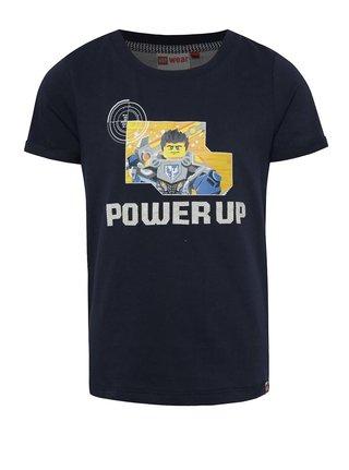 Tmavě modré klučičí triko s potiskem a nášivkou LEGO Wear Teo