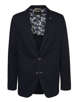 Tmavomodré pánske sako s exotickým motívom s bugatti