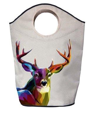 Krémový koš na prádlo s potiskem jelena Butter Kings