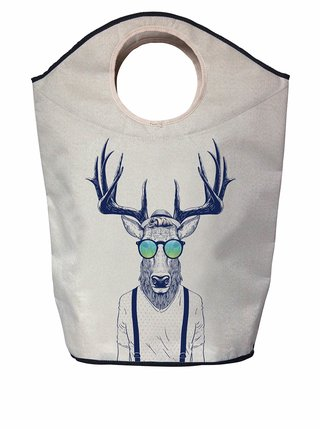 Modro-krémový koš na prádlo s potiskem jelena Butter Kings