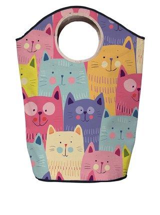 Modro-růžový koš na prádlo s potiskem koček Butter Kings