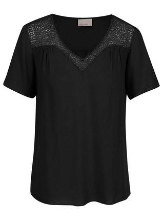 Čierny top s háčkovaným dekoltom VERO MODA Lulu
