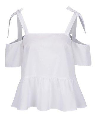 Biely top s odhalenými ramenami s viazaním Miss Selfridge