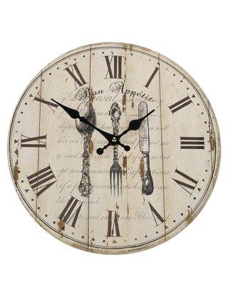 Hnědo-béžové dřevěné hodiny s motivem příboru Dakls