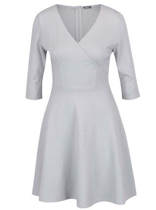 Svetlosivé šaty s prekladaným výstrihom ZOOT