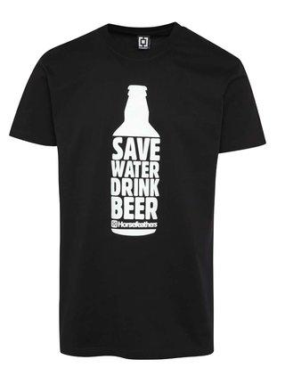 Tricou negru Horsefeathers Save Water cu print