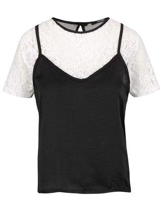 Černo-bílý krajkový top s krátkým rukávem Haily's Sare