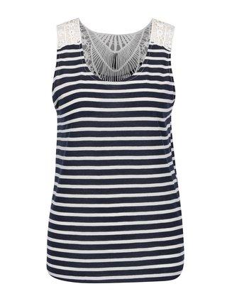 Top alb&albastru Haily's Janet Stripe cu insertie macrame