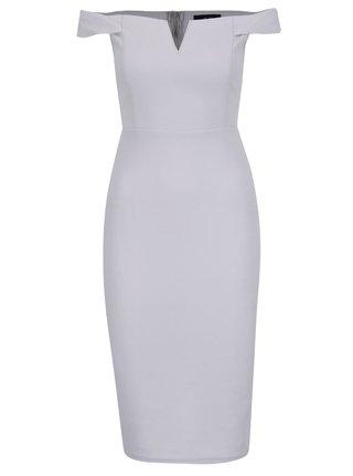 Sivé šaty s odhalenými ramenami AX Paris