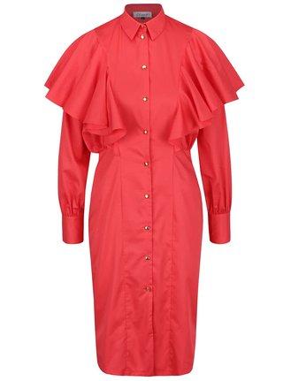 Červené košilové šaty s volány Closet