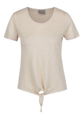 Béžové lněné tričko s uzlem Vero Moda Reza