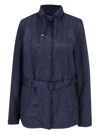 Modrá dámska bunda s kapucňou v golieri Geox
