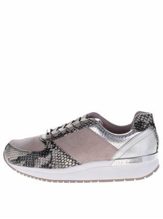 Pantofi sport bej din piele Ted Baker Kapaar cu detalii ce imita pielea de sarpe