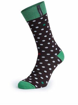 Zeleno-černé puntíkované unisex ponožky V páru