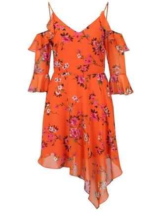 Oranžové kvetované asymetrické šaty s prestrihmi na ramenách Miss Selfridge