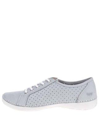 Pantofi gri deschis din piele cu perforatii pentru femei  Weinbrenner