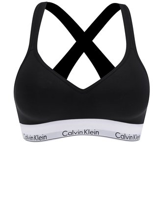 Bustier negru cu bretele incrucisate si logo - Calvin Klein Underwear