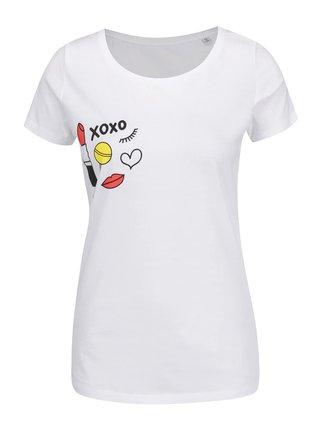 Biele dámske tričko s potlačou xoxo Cuky Luky film