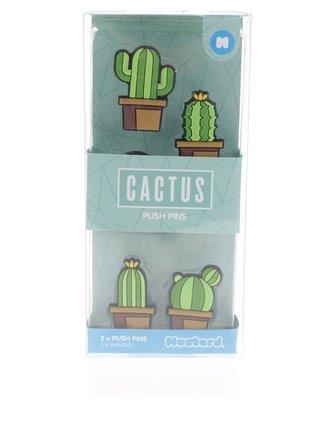 Súprava piatich zelených pripináčikov v tvare kaktusu Mustard
