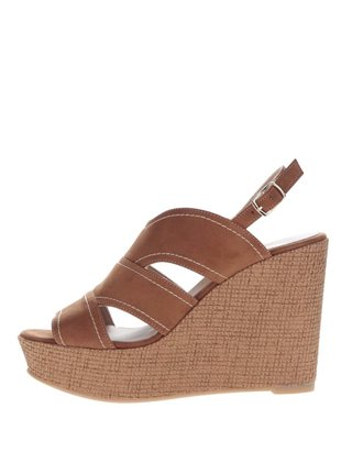 Hnedé sandále v semišovej úprave na platforme OJJU